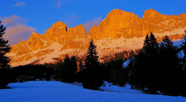 Sunset on the Catinaccio mountain range, Dolomites - image from geolocation.ws