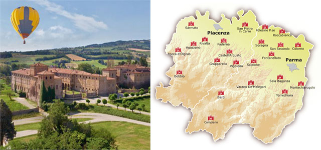 The castles of Piacenza and Parma can be admired from hot-air balloons too! Image from castellidelducato.it