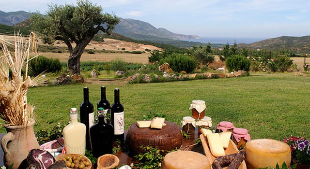 Typical appetizers & Sardinia's coastal landscape - image from gnv.it