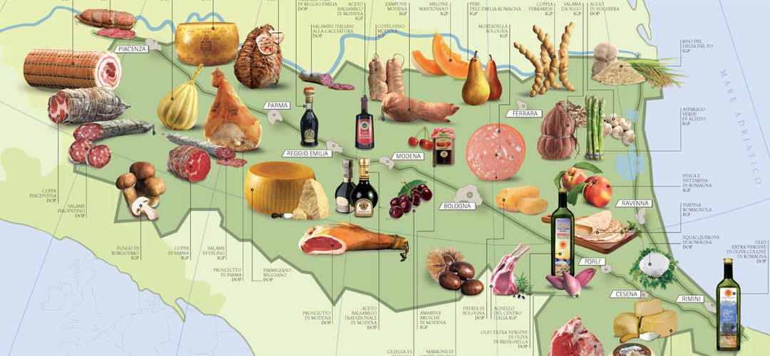 Food infographic: PDO and GPI-protected food from Emilia Romagna