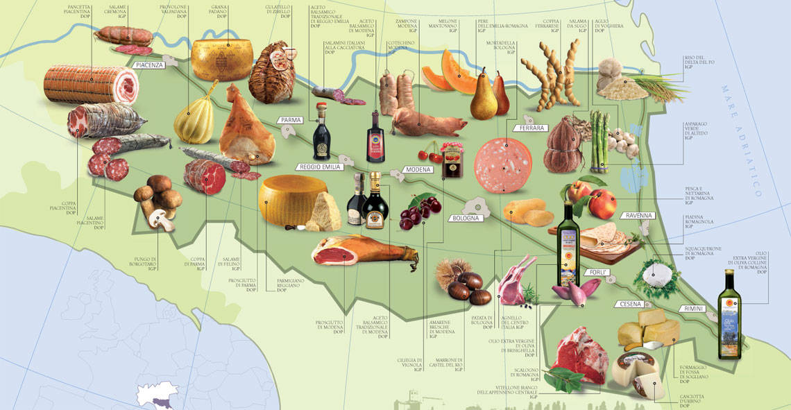 Map of Food Products from Emilia Romagna