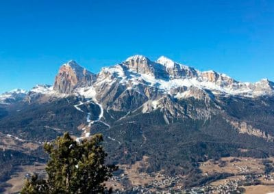 Cortina d'Ampezzo lies in the Dolomites